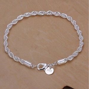 NWT 925 Silver 4MM Rope solid chain Bracelet